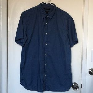 Blue Short sleeves button down shirt with patterns